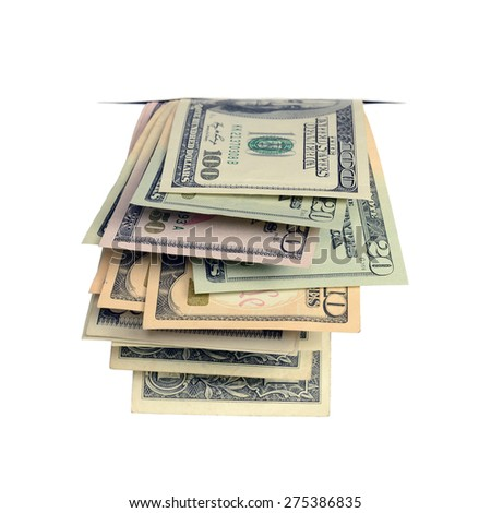 Dollars in the cracks isolated on a white background.