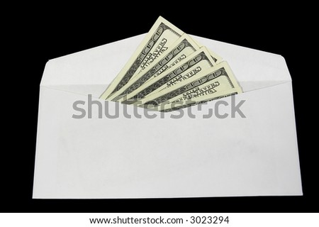 Dollars in the envelope isolated on black