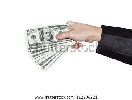 dollars in the hand of the businessman