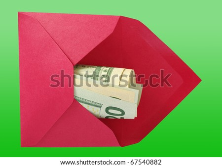 Dollars in the red open envelope isolated on a green background with work paths. - stock photo