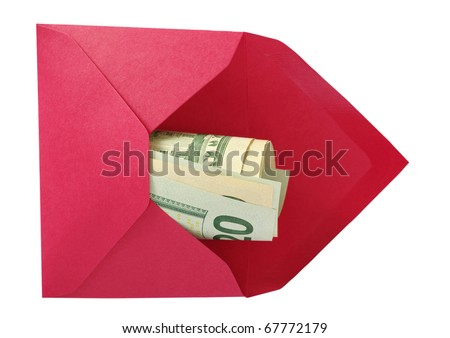 Dollars in the red open envelope isolated on a white background with work paths. - stock photo