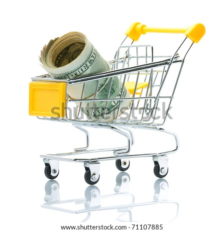 Dollars in the shopping cart - stock photo