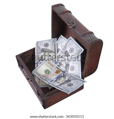 dollars in treasure box isolated on white - stock photo