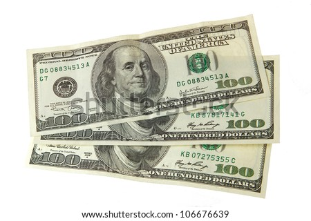 dollars isolated on white - stock photo