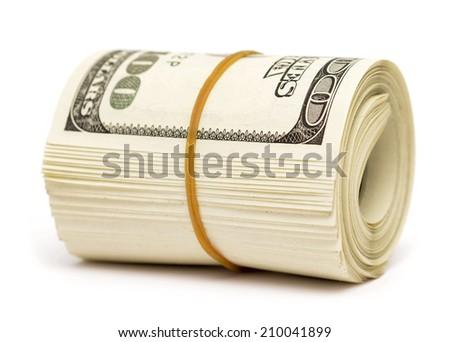 dollars isolated on white background - stock photo