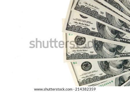 Dollars isolated on white background