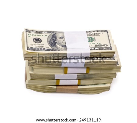 Dollars money isolated on white background - stock photo