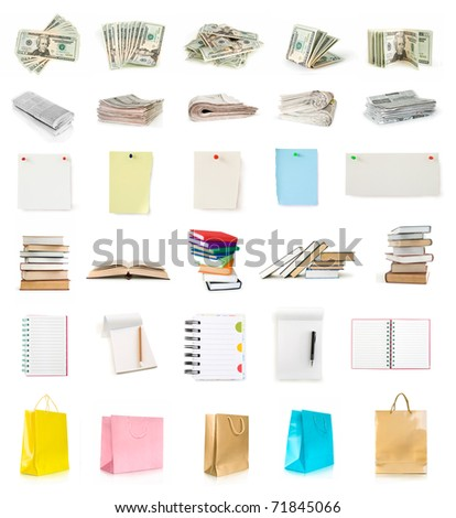 dollars, newspapers, pages, books, notebooks and shopping bags collection isolated on white - stock photo