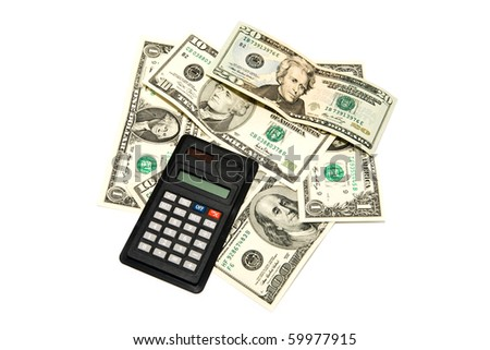 dollars of different notes with a calculator