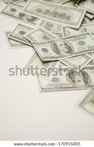 Dollars on a white background.