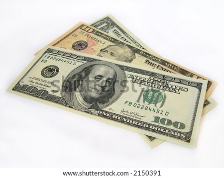 Dollars on a white background