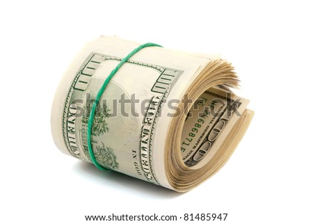 dollars on a white background - stock photo