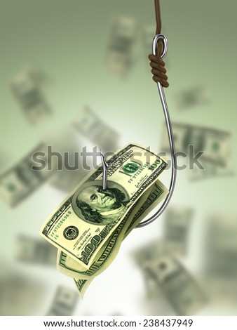 Dollars on fishing hook  - stock photo
