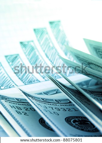 Dollars on hand drawn chart. Business concept. - stock photo