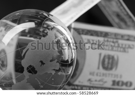 dollars on the keyboard - stock photo