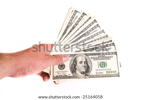 Dollars on the white background, cash, president