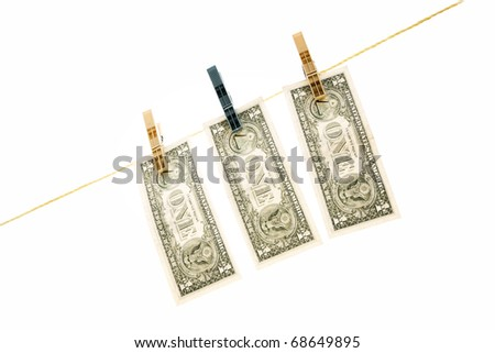 Dollars on the wire isolated on white
