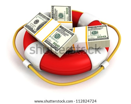 Dollars Packs in red lifebuoy. Money Saving Concept