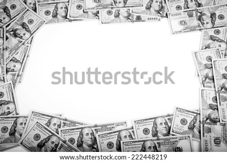Dollars Photography: Frame of 100 dollars banknotes