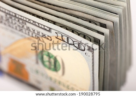 Dollars Photography: Macro of US One Hundred Dollar - stock photo