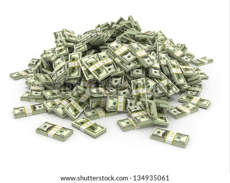 Dollars. Pile from packs of money. 3d - stock photo