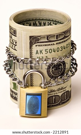 Dollars protected by fingerprint - stock photo