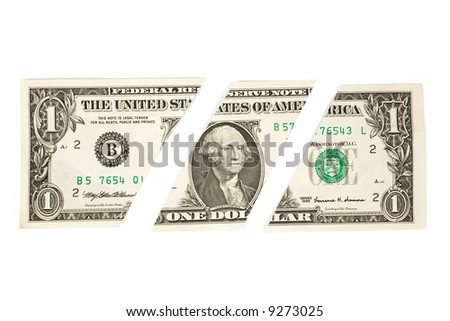 Dollars Puzzle with white background, concept of Financial Problem