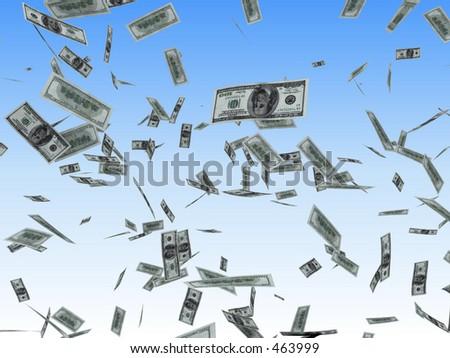 Dollars rain - stock photo