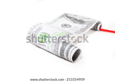 dollars roll on a white background - stock photo