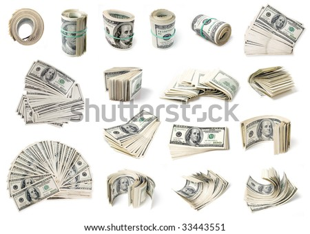 Dollars set on white background (isolated). See more dollars in my portfolio.