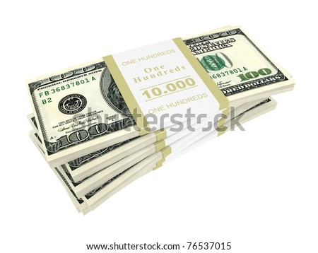 dollars stack isolated over white background