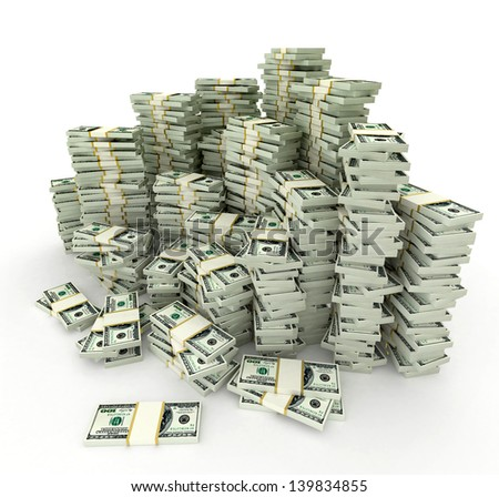 Dollars stack  - this is a 3d render illustration - stock photo