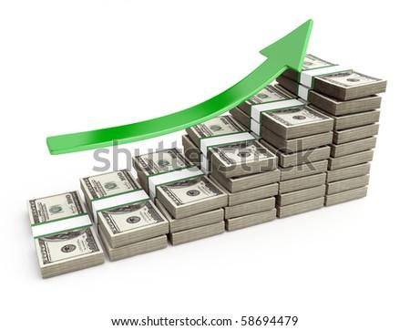 dollars stairway - stock photo