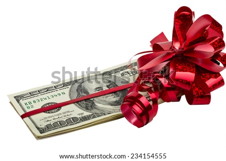 Dollars tied with a red bow on a white background