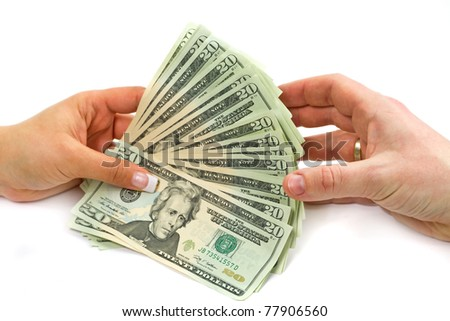 Dollars transaction from hand to hand - stock photo