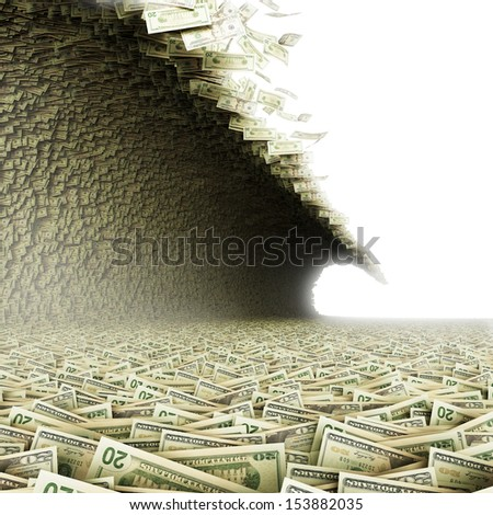 Dollars wave. Money tsunami  - stock photo