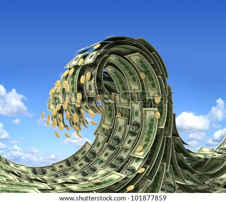Dollars wave over blue sky - stock photo