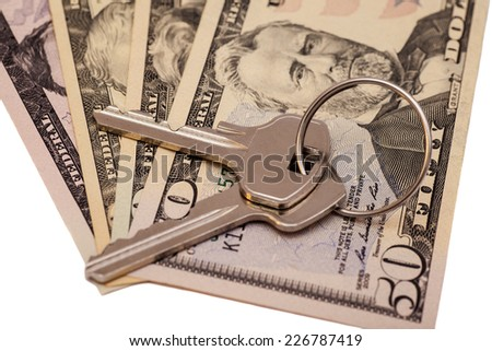 Dollars with a key lock isolated on white background  - stock photo