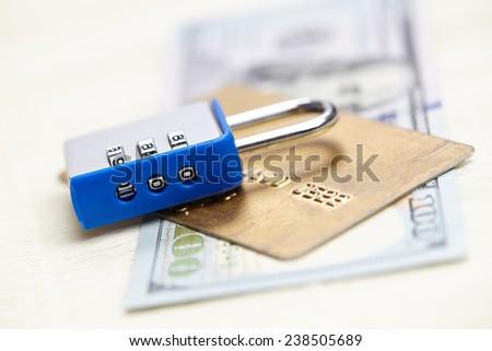 dollars with padlock - stock photo
