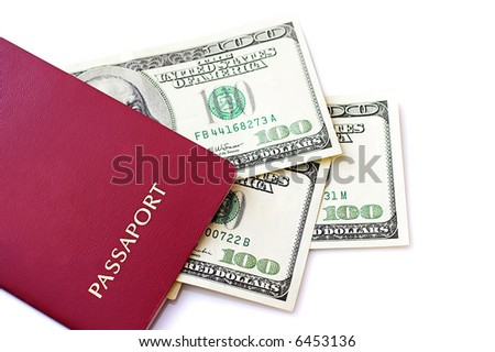 Dollars with the passport, isolated against the white background.