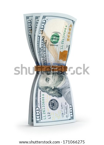 dollars with tighten belt - financial crisis 3d concept  - stock photo