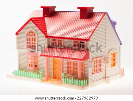 Dollhouse close up on a light background - stock photo