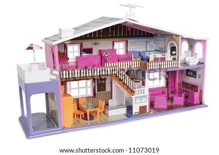 Dollhouse - isolated on white - stock photo