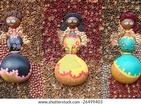 dolls painted in a brazilian calabash