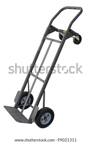 Dolly hand truck with four wheels convertible isolated on white - stock photo