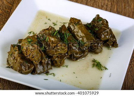 Dolma - stuffed meat in grape leaves with sauce - stock photo