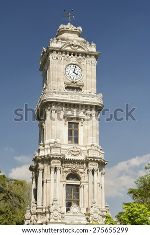 Dolmabahce Clock Tower, Istanbul, Turkey - stock photo