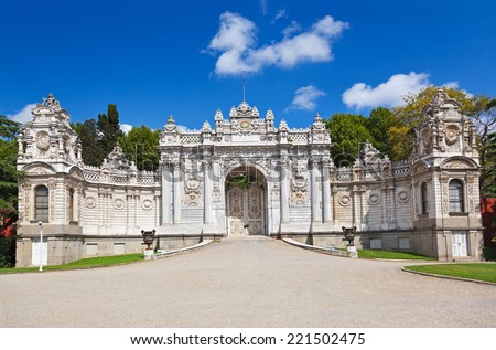 Dolmabahce Palace at Istanbul Turkey - architecture background - stock photo