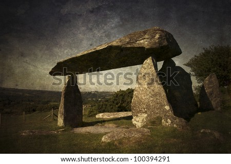 Dolmen in Wales - stock photo