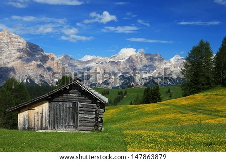 Dolomite, Alta Badia, near Piz la Ila,  - stock photo